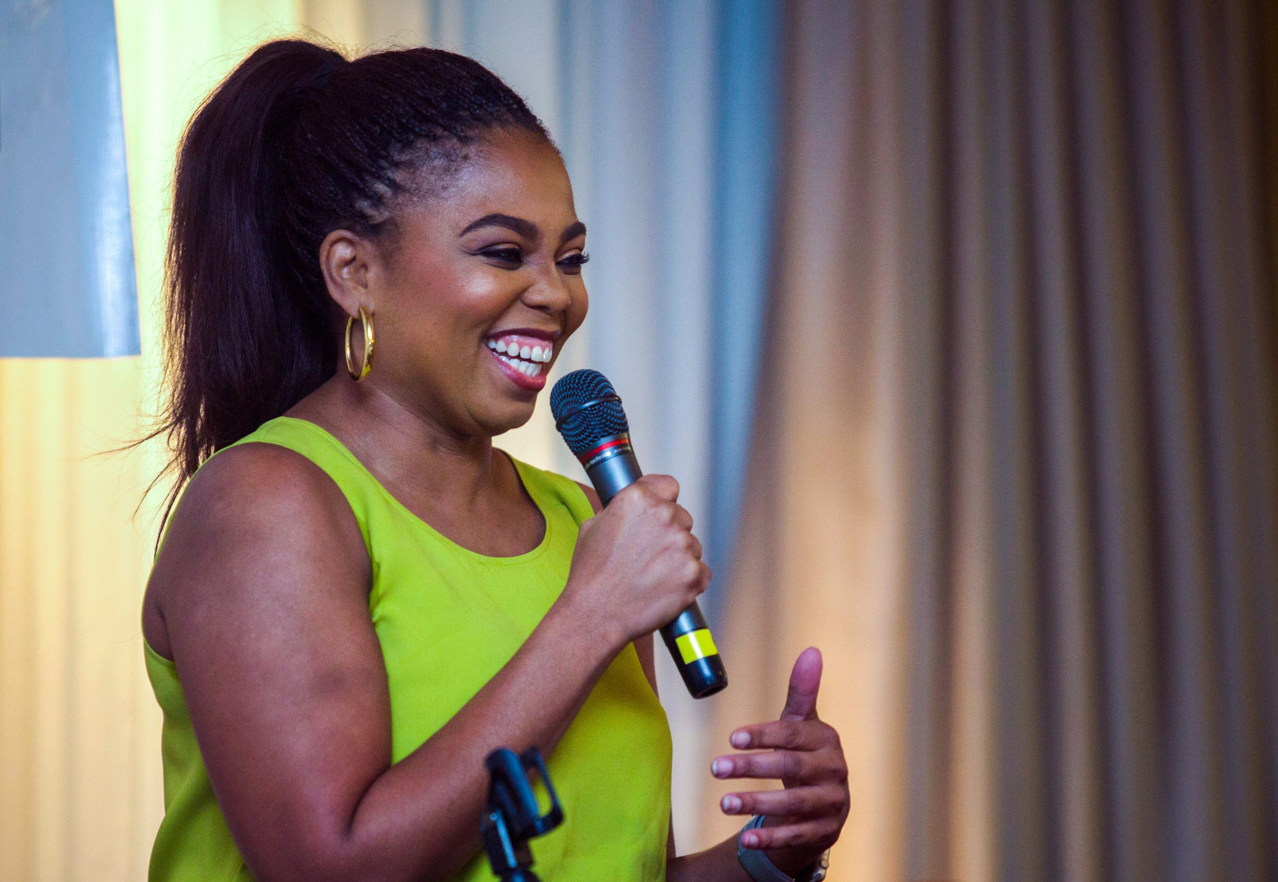 Jemele Hill, an award-winning sports journalist, commentator and co-founder of Lodge Freeway Media, presents her keynote talk Saturday evening at JAWS CAMP Oct. 13, 2018.